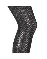 LA REDOUTE - Black Collant En Maille Ajourée Motif Chevron - Lyst