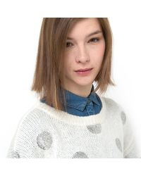 LA REDOUTE - Multicolor Shimmery Polka Dot Sweater With Boat Neckline - Lyst