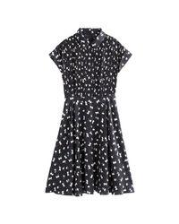 Vestido camisero evasé con estampado de flores, semilargo LA REDOUTE de color Black
