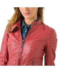 Schott Nyc - Pink Harvey Leather Biker Jacket - Lyst