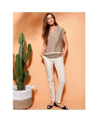 LA REDOUTE - Natural 7/8 Linen Trousers With Italian Pockets - Lyst