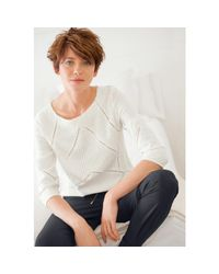 LA REDOUTE - Black Guipure Lace Blouse With 3/4 Sleeves - Lyst
