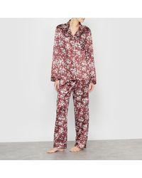 La Redoute | Red Printed Satin Grandad Pyjamas | Lyst