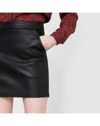 Suncoo - Black Fitz Faux Leather Skirt - Lyst