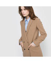LA REDOUTE - Natural Straight Cut Wool Mix Coat - Lyst
