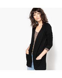 LA REDOUTE - Black Long-sleeved Open Cardigan - Lyst