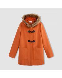 LA REDOUTE - Orange Hooded Duffle Coat - Lyst