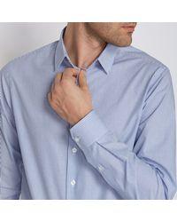 LA REDOUTE - Blue 100% Cotton Straight Cut Striped Shirt for Men - Lyst