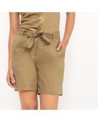 LA REDOUTE - Natural Long Linen Shorts - Lyst