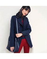 LA REDOUTE - Blue Coat With Faux Fur Collar - Lyst