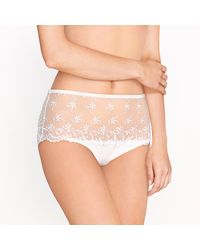 LA REDOUTE - White Embroidered Tulle Full Briefs - Lyst