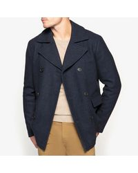 SELECTED - Blue Pea Coat for Men - Lyst