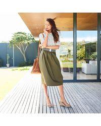 LA REDOUTE - Green Pleated Midi Skirt - Lyst