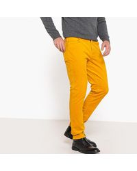 Pantalón de terciopelo con corte slim LA REDOUTE de hombre de color Yellow