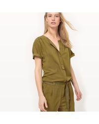 LA REDOUTE - Green Tie Waist Jumpsuit - Lyst