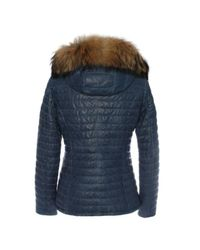 Oakwood - Blue Leather Fur Trim Jacket - Lyst