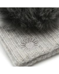 Ugg - Gray Luxe Cuff Stormy Grey Heather Pom Pom Hat - Lyst