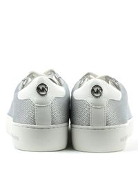 Michael Kors | Metallic Irving Silver Leather & Mesh Lace Up Trainer | Lyst