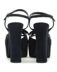 Saint Laurent Blue Candy 80 Navy Suede Platform Bow Sandal