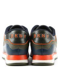DKNY Blue Jennie Khaki Lace Up Trainer for men