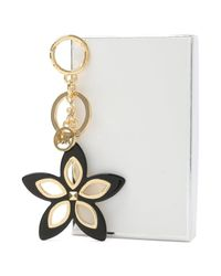 Michael Kors - Floral Grommet Black Keyring - Lyst