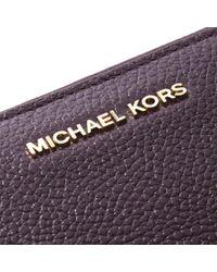 Michael Kors Purple Mercer Continental Damson Leather Wristlet Wallet