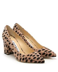 Vittorio Valsecchi Brown Vallie Leopard Calf Hair Block Heel Court Shoe