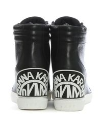 DKNY Donnie Black Leather Wedge High Top Trainers