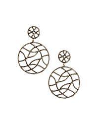 Bavna - Metallic Champagne Diamond Pave Round Double-drop Earrings - Lyst