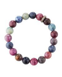Bavna - Multicolor Sapphire Stretch Bracelet W/ Diamonds - Lyst