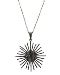 Bavna - Metallic Silver Sunburst Pendant Necklace With Black Spinel - Lyst