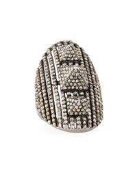 Bavna - Metallic Champagne Diamond Shield Ring - Lyst