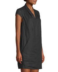 Neiman Marcus - Red Linen Cap-sleeve Sheath Dress - Lyst