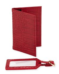 Neiman Marcus - Red Crocodile-embossed Passport And Luggage Tag Set - Lyst
