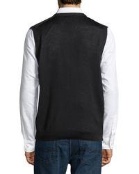 Neiman Marcus - Black Birdseye-knit Wool-blend Vest for Men - Lyst