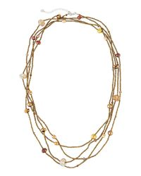 Nakamol - Metallic Long Four-strand Pearl & Crystal Beaded Necklace - Lyst
