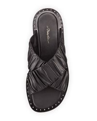 3.1 Phillip Lim - Black Nagano Ruched Leather Flat Slide Sandal - Lyst