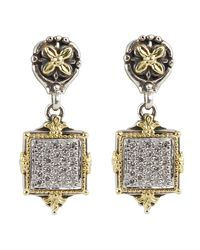 Konstantino - Asteri Pave White Diamond Square Double-drop Earrings - Lyst