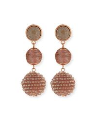 Lydell NYC - Pink Beaded Ball Drop Earrings - Lyst