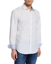 Bugatchi White Men's Bow-tie Shaped-fit Shirt for men