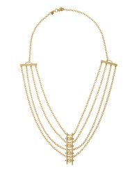 Rebecca Minkoff | Metallic 12k Gold-plated Multi-strand Pearly Bar Necklace | Lyst