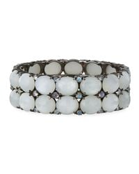 Bavna - Metallic Wide Moonstone Bangle Bracelet - Lyst