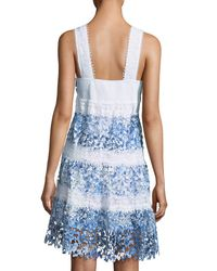 T Tahari | Blue Raya Striped Lace A-line Dress | Lyst
