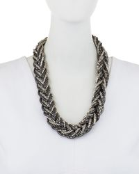 Romeo and Juliet Couture Metallic Snake Chain Braid Bib Necklace