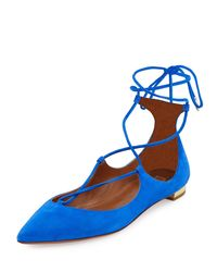 Aquazzura - Blue Christy Suede Lace-up Pointed-toe Flat - Lyst
