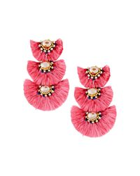 Nakamol - Pink Triple-drop Fringe Earrings - Lyst
