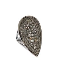 Bavna - Pear-shape Gray & Champagne Diamond Cocktail Ring Size 7 - Lyst