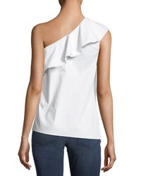 Vince Camuto - White Ruffled One-shoulder Top - Lyst
