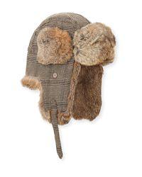 Lyst - Neiman Marcus Wool-blend Glen Plaid Trapper Hat Beige in Natural fdf0d403788a