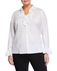 Go> By Go Silk White Plus Size Ruffle Button-front Blouse